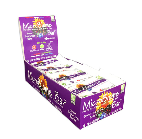 MicroBiome Bar® – Sunny-Saskatoon Berry - Box of 12 Bars – FREE Shipping – Discounts Available