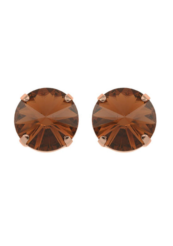Smoked Topaz Rivoli Stud Earrings