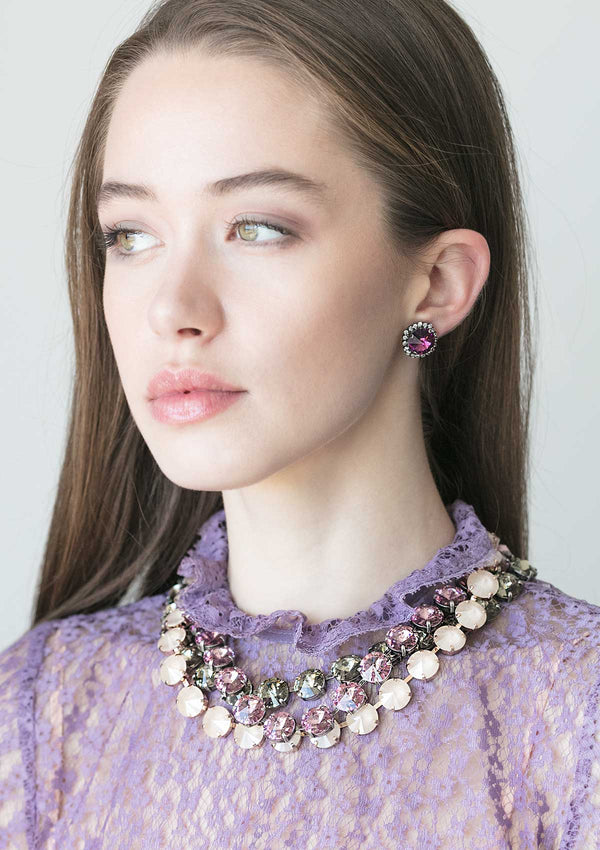 Amethyst Rivoli Crystal Necklace Purple rebekah price jewelry