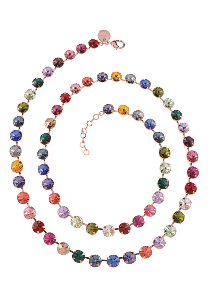 Vega Necklace Long rose gold multicolor swarovski crystals rebekah price jewelry