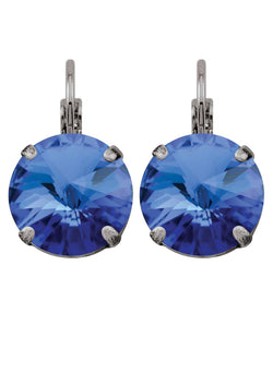 Sapphire Rivoli Drop Earrings Blue Swarovski Crystals Rebekah Price Designs Fine Jewelry