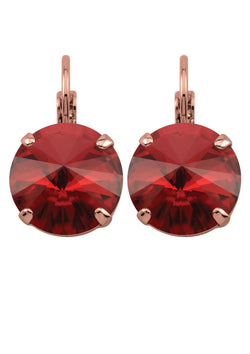 Siam Rivoli Drop Crystal Earrings Red Rose Gold Rebekah Price Designs Fine Jewelry