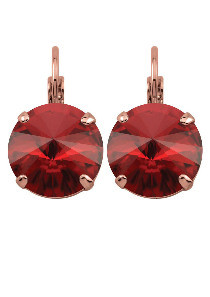 Siam Rivoli Drop Earrings Red Rose Gold Swarovski Crystals Rebekah Price Designs Fine Jewelry