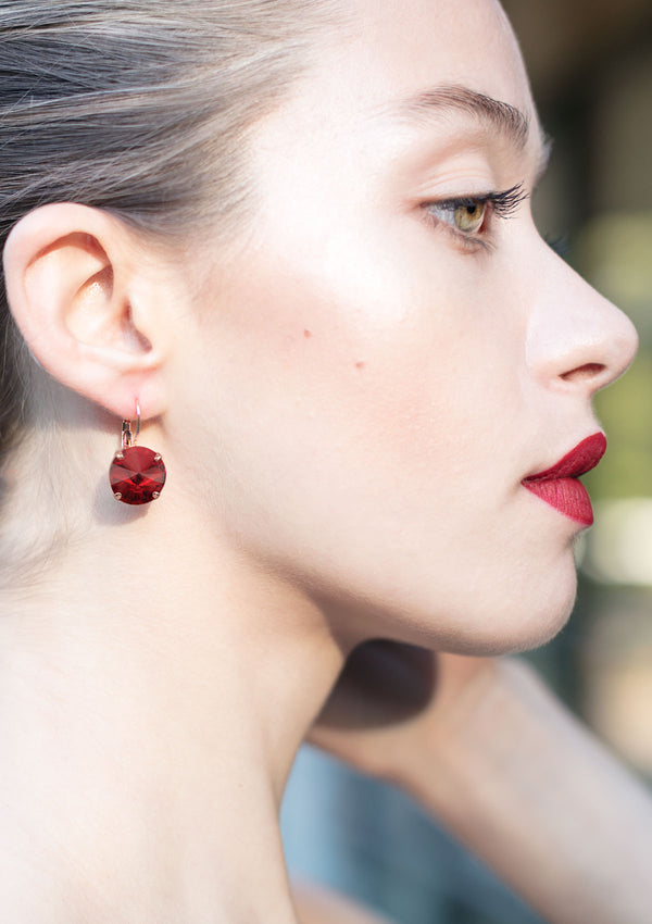 Red Swarovski crystal earrings drop Rebekah Price jewelry