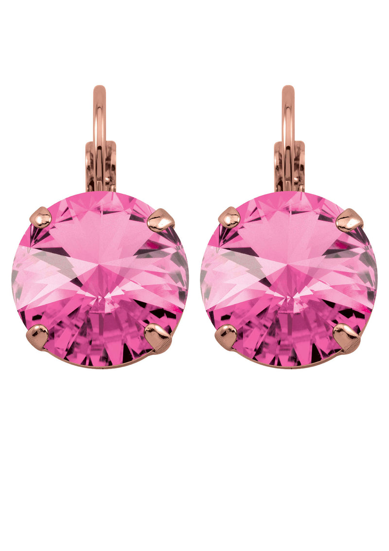 Rose Rivoli Drops Gold Pink Earrings Swarovski Crystals Rebekah Price Jewelry