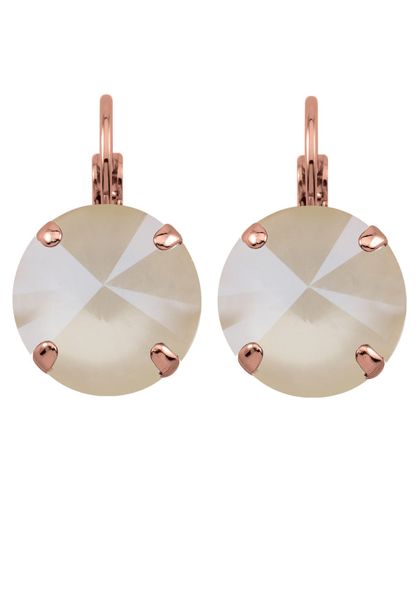 Ivory Cream Rivoli Crystal Earrings Bridal Rose Gold Rebekah Price Jewelry