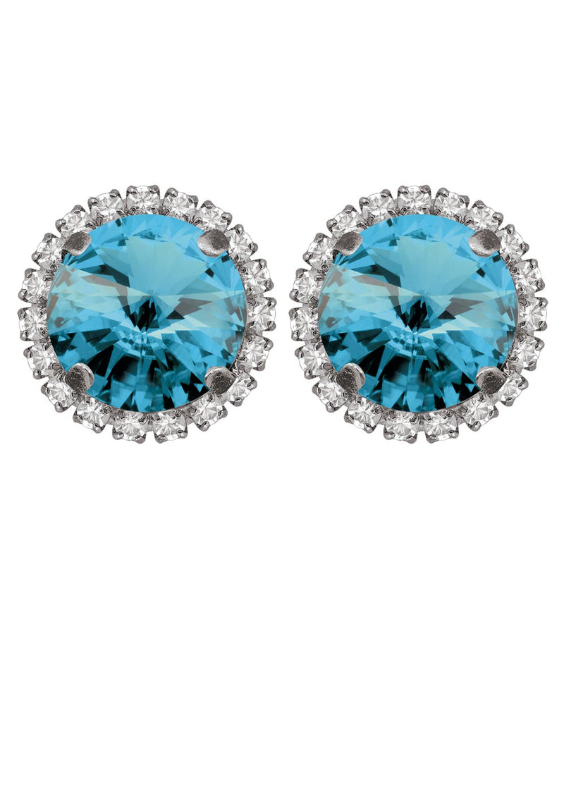 Aquamarine Rivoli Studs with Strass Blue color swarovski crystals rebekah price jewelry