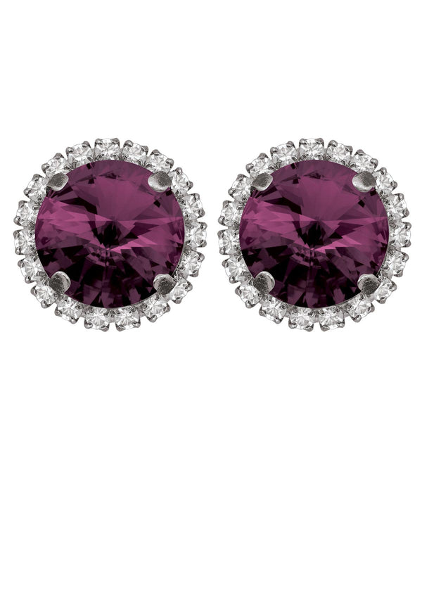 Amethyst Rivoli Studs with Strass Purple color swarovski crystals rebekah price jewelry