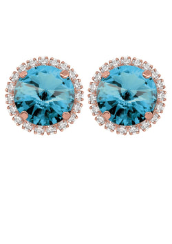 Aquamarine Rivoli Crystal Stud Earrings With Strass Rebekah Price Designs Jewelry