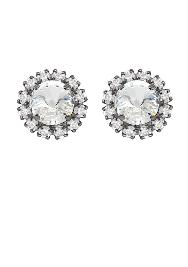 Crystal Rivoli Mini Studs with Strass antique silver Swarovski crystals rebekah price jewelry