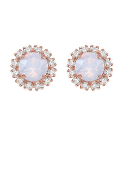 Opal Rivoli Mini Studs with Strass Rose Gold Pink Swarovski Crystals rebekah price jewlelry