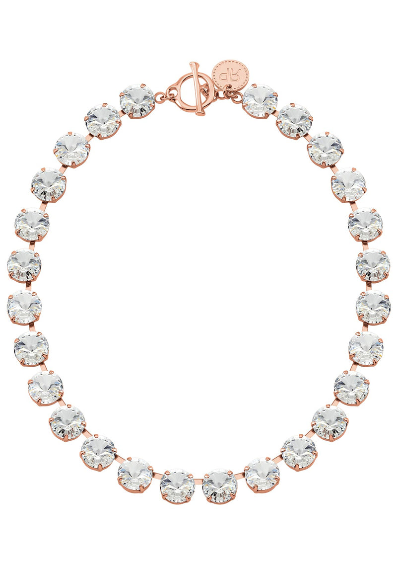 Crystal Rivoli Necklace in rose gold crystals rebekah price jewelry