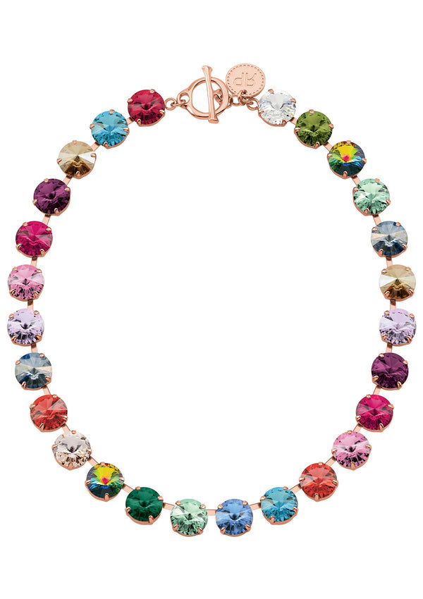 Rivoli Multicolor Necklace Pink Rose Gold Swarovski Crystals Rebekah Price Jewelry