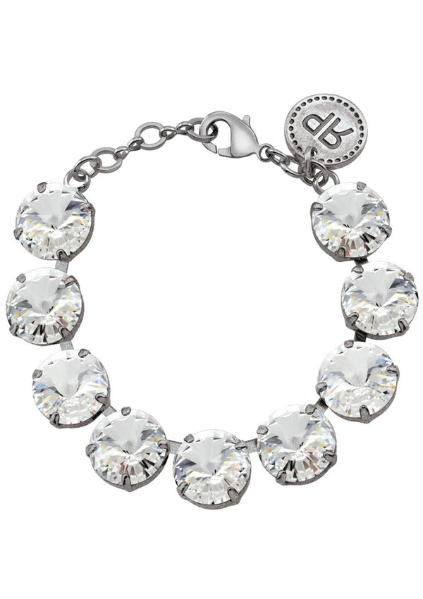 Crystal Rivoli Bracelet Antique Silver Swarovski Crystals Rebekah Price Designs Fine Jewelry