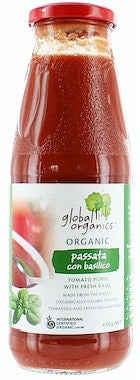 Global Organics Tomato Puree (Passata) with Basil (Glass) 680g