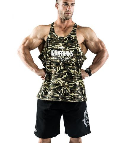 Jungle Camo T-Back Bodybuilding Tank