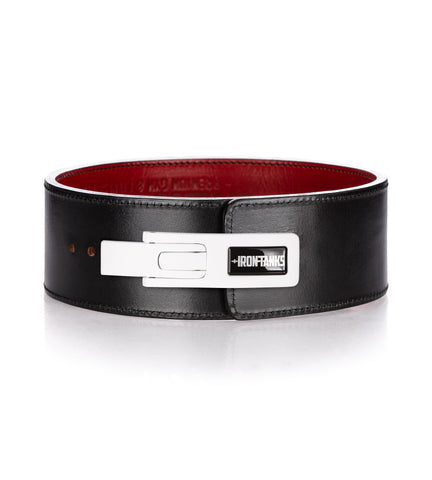 Iron Tanks Lever Belt Quake 10mm Lever Powerlifting Belt - Black and Red