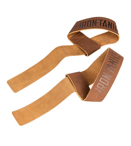 Iron Tanks Lifting Straps Heavy Leather Weightlifting Straps - Tan