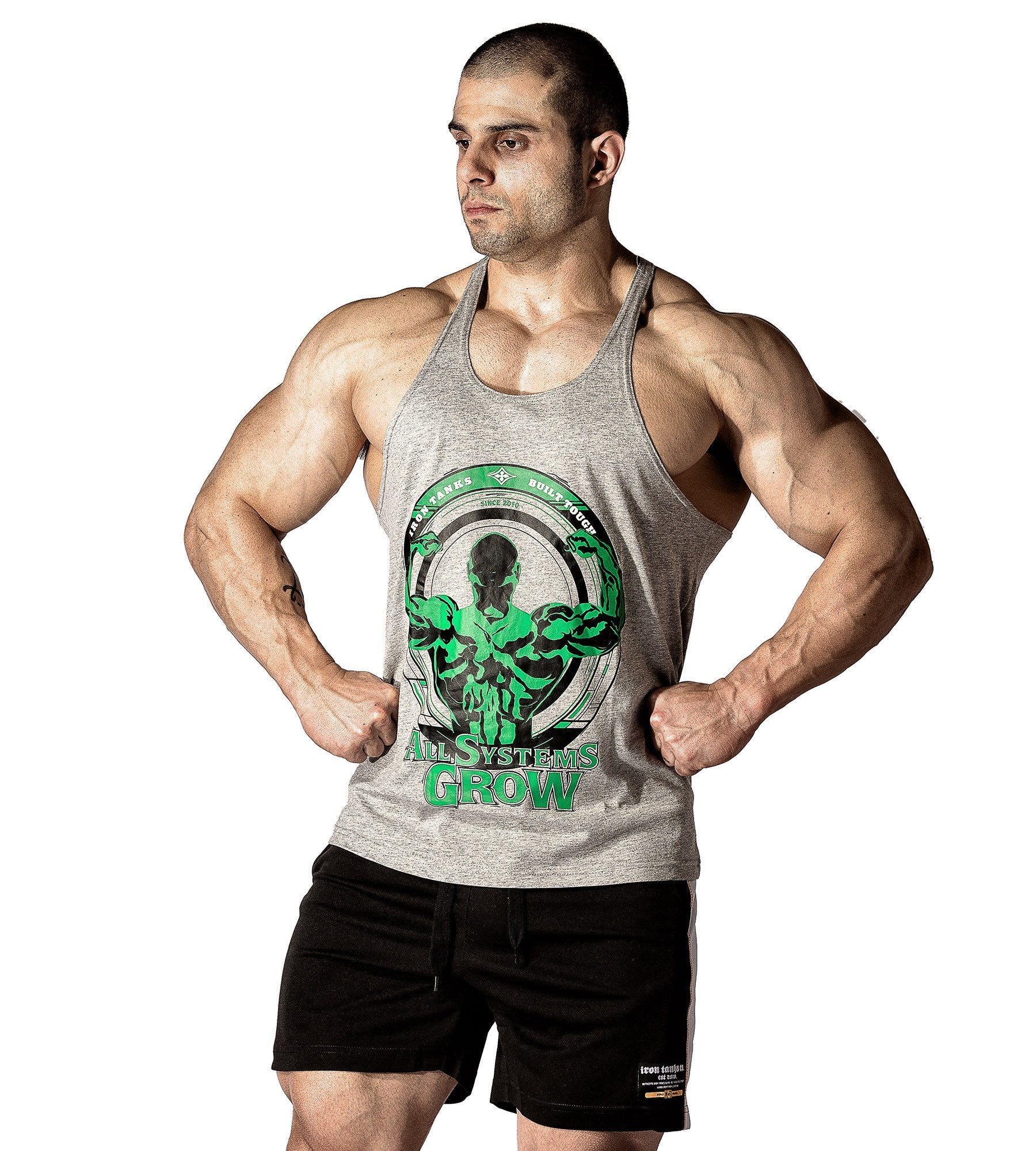 a4dd8530238a4 Sale Iron Tanks Mens Tanks ASG Stringer Singlet - Grey