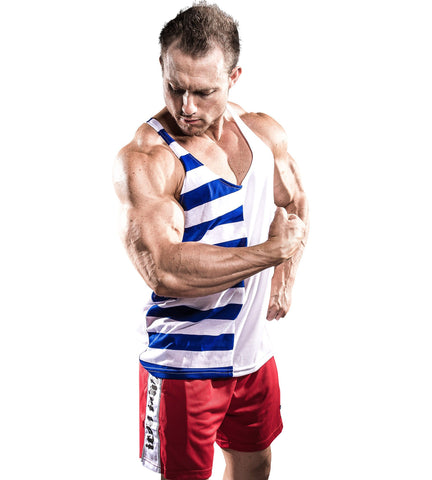 Iron Tanks Mens Tanks Lycan Stringer - White/Blue