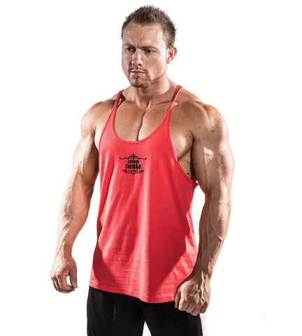 Iron Tanks Mens Tanks Marauder Stringer Singlet - Faded Red