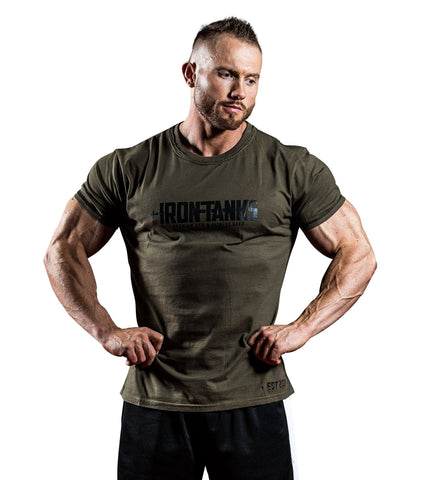 Iron Tanks Mens Tees & Shirts Military Muscle Tee - Army Green