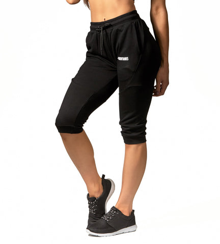 Iron Tanks Womens Pants Womens Fusion 3/4 Gym Pants - Flux Black