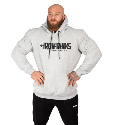 Men's Fleece Pullover Hoodie Grey Gym Bodybuilding Jumper | Iron Tanks