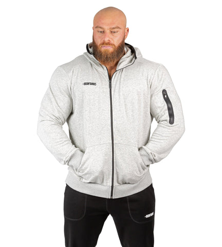 Mens Hoodie Grey Workout Training Bodybuilding Jumper | Iron Tanks