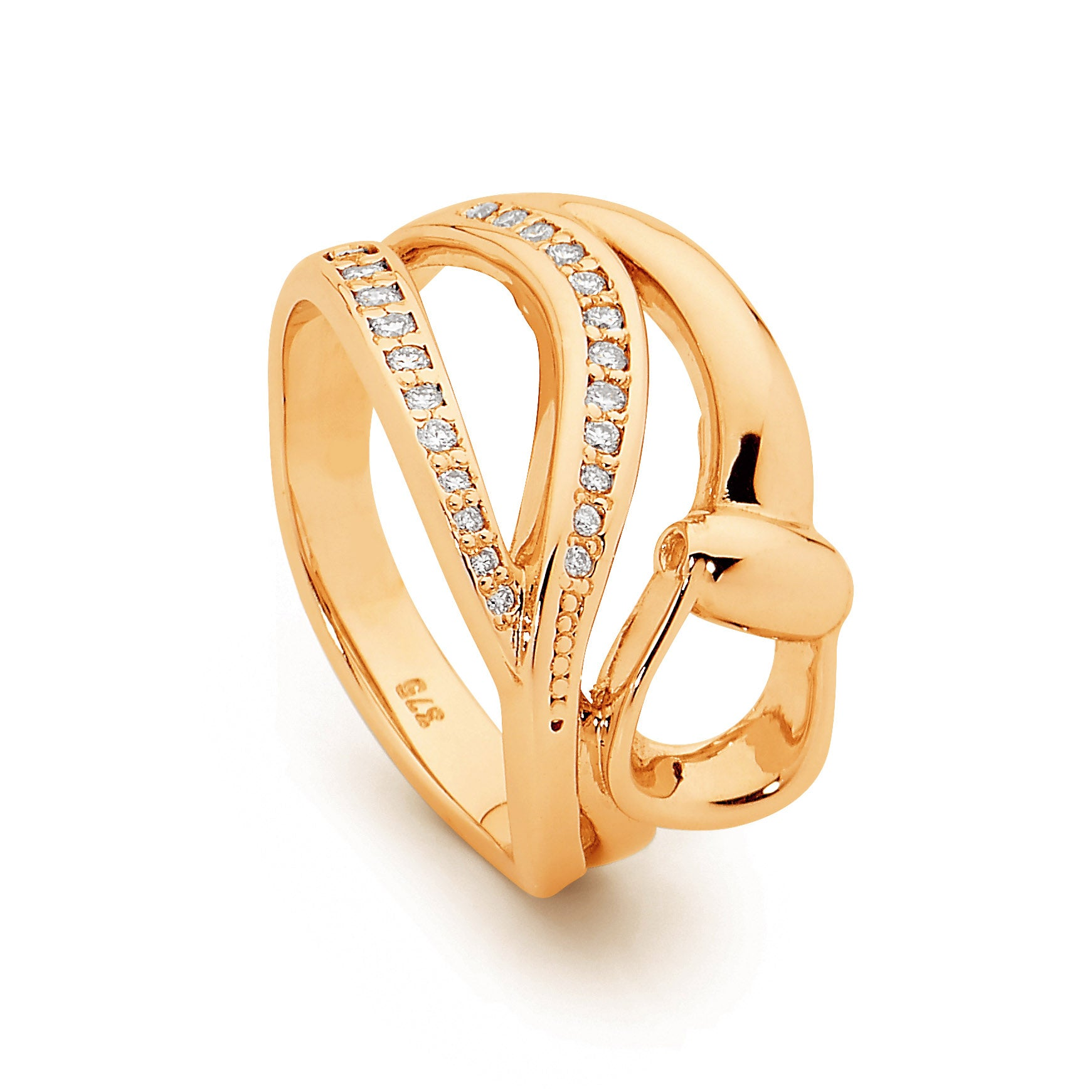 Elegant Diamond Stirrup Ring