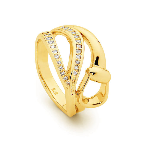 Elegant Diamond Stirrup Ring - 9ct Yellow Gold