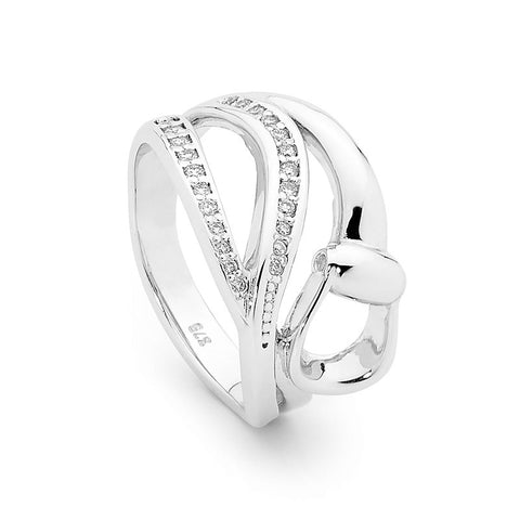 Elegant Diamond Stirrup Ring - 9ct White Gold