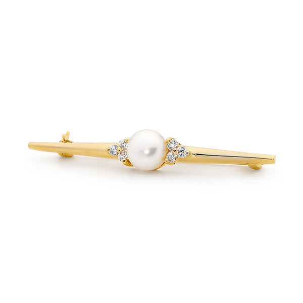 Pearl with Cubic Zirconia Stock Pin
