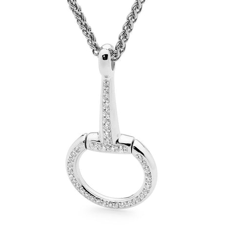 Sterling Silver Large 'D' and Half Bit with Cubic Zirconia