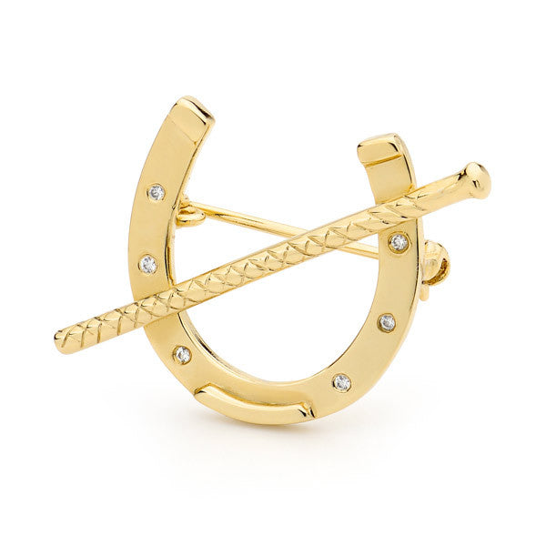 Horseshoe with Whip - Gold