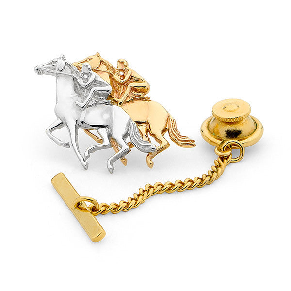 Gold Racehorse Tie Pin - 9ct White Gold and 9ct Yellow Gold