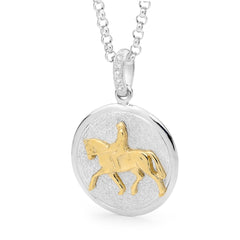 Dressage Horse Pendant - 9ct Yellow Gold Accent on Sterling Silver