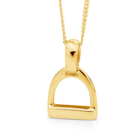 Small Plain Stirrup Pendant - 9ct Yellow Gold