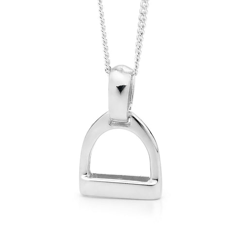 Small Plain Stirrup Pendant - Sterling Silver
