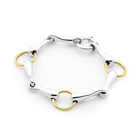 9ct Yellow Gold and Sterling Silver Bracelet