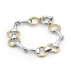 Eggbutt Two Tone Snaffle Bit Bracelet - 9ct Yellow Gold Accent on Sterling Silver