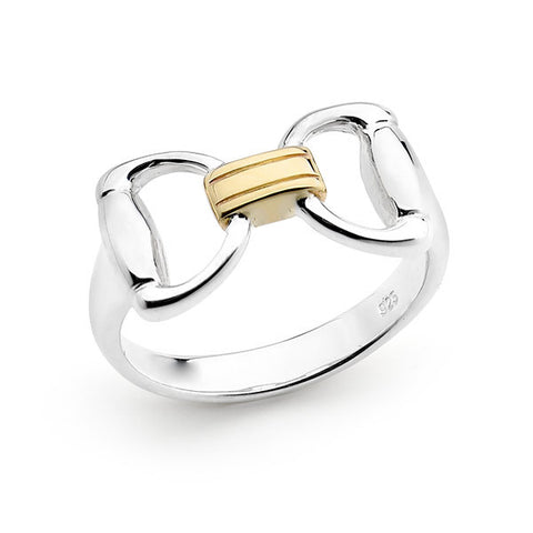 Gold Accent D Ring - 9ct Yellow Gold