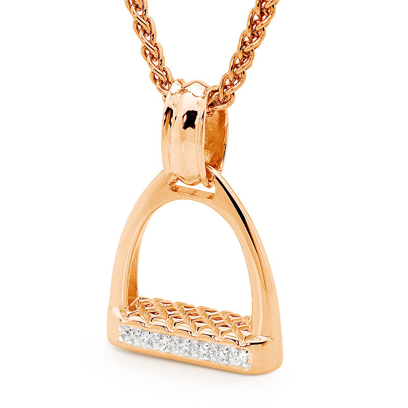 Medium Stirrup Pendant - Rose Gold