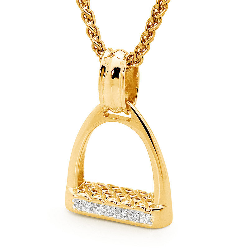 Medium Stirrup Pendant - Yellow Gold