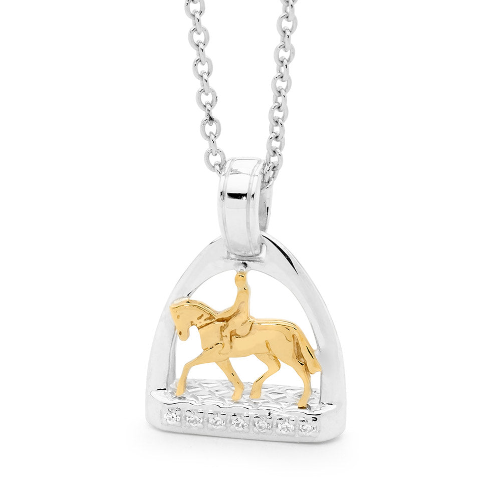 Petite Stirrup with Pony and Rider Pendant