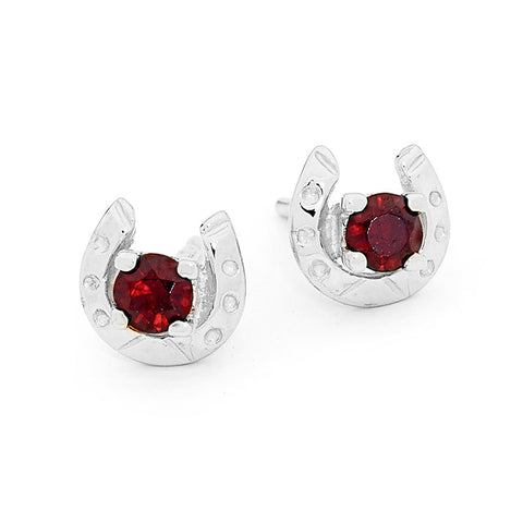 Genuine Garnet Horseshoe Earrings - Sterling Silver