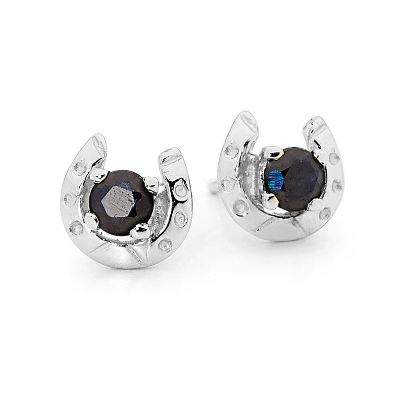 Genuine Sapphire Horseshoe Earrings - Sterling Silver