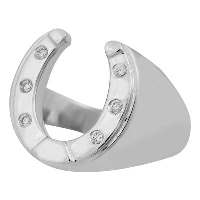 Horseshoe Mens Ring - Silver