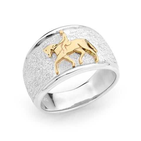 Dressage Horse Ring - 9ct Yellow Gold Accent on Sterling Silver