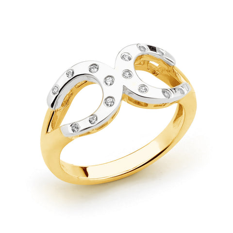 Diamond Two Tone Horseshoe Ring
